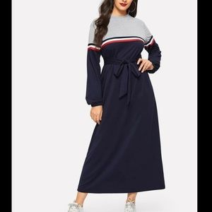 Waist Belted Striped Tape Cut-and-sew Dress